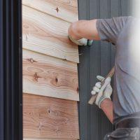 天然木「鎧張り」外壁貼り分け