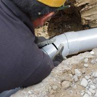 外部水道配管工事。家ができるまで。